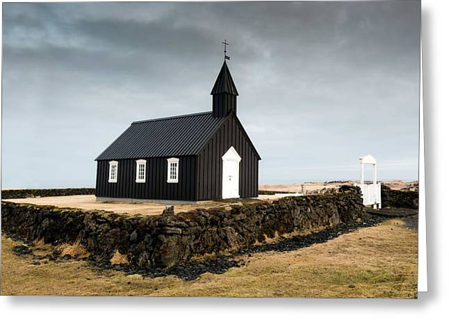 Greeting Card featuring the photograph Black Church Of Budir, Iceland by Michalakis Ppalis