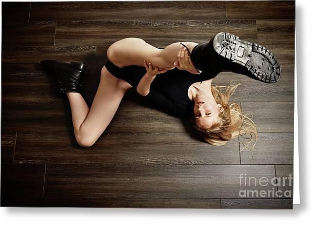 Blond Woman Posing Greeting Card by Aleksey Tugolukov