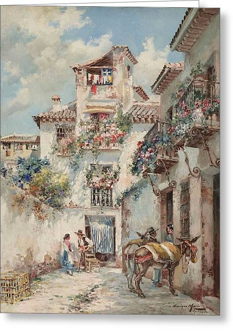 Blossoming Flowers In Granada Greeting Card by Enrique Marin