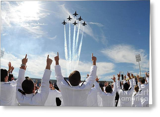 Blue Angels Fly Over The Usna Graduation Ceremony Greeting Card by Celestial Images