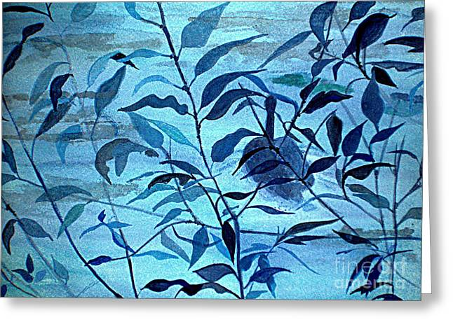 Blue On Blue Greeting Card by Vivian  Mosley