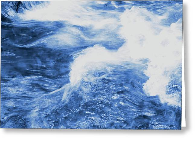 Blue Stream Greeting Card by Les Cunliffe