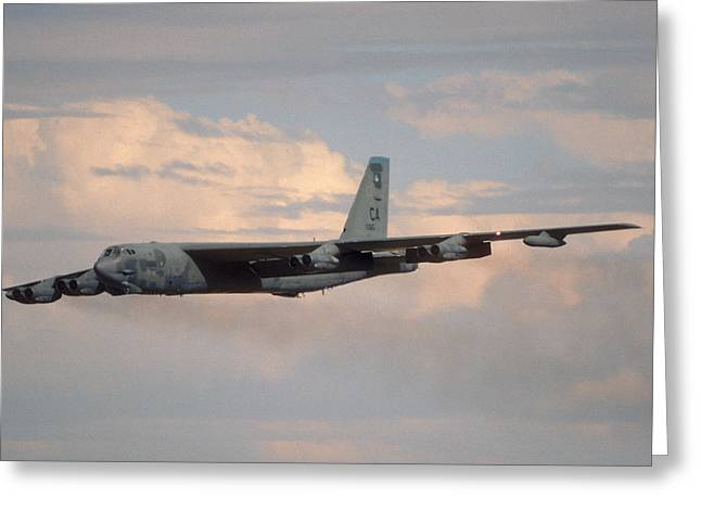 Boeing B-52g Stratofortress 59-2565 93rd Bomb Wing Castle Afb September 17 1992 Greeting Card by Brian Lockett