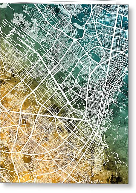 Bogota Colombia City Map Greeting Card