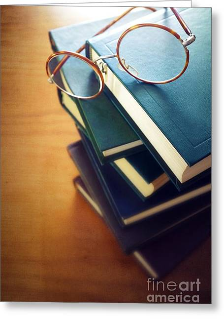 Books And Glasses Greeting Card by Carlos Caetano