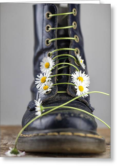 Boots With Daisy Flowers Greeting Card