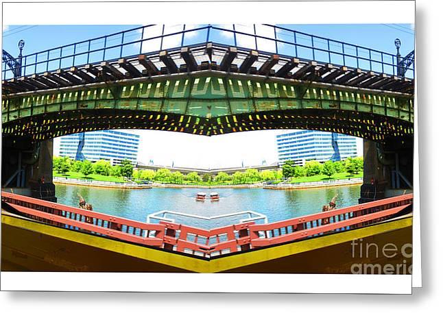 Boston Bridges Digiral Arc Transformation By Navin Joshi Greeting Card by Navin Joshi
