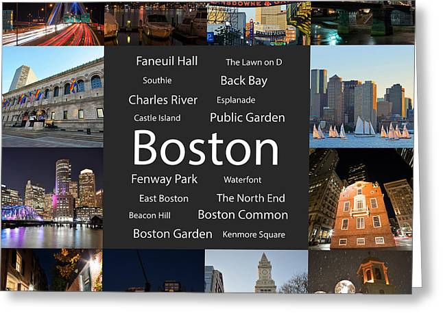 Boston Ma Collage Greeting Card