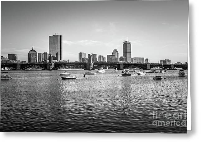 Boston Skyline Black And White Photo Greeting Card