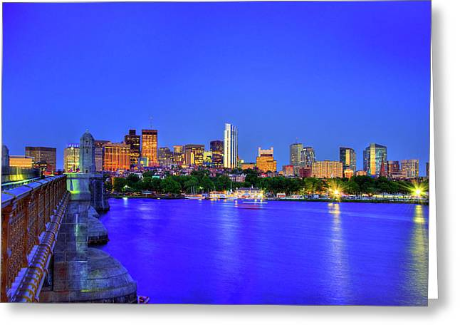 Boston Skyline From The Charles River Greeting Card