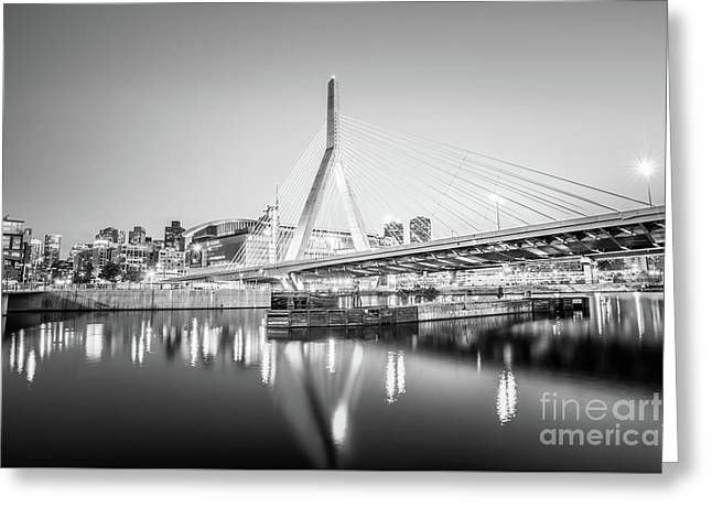 Boston Zakim Bridge At Night Black And White Photo Greeting Card by Paul Velgos