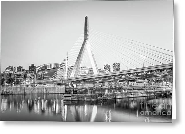 Boston Zakim Bridge Black And White Photo Greeting Card by Paul Velgos