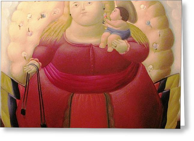 Botero Woman And Child Greeting Card