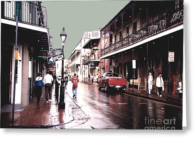 Greeting Card featuring the photograph Bourbon Street After The Rain by Merton Allen