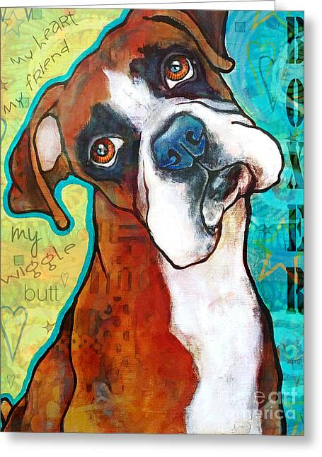 Boxer Love Greeting Card by Stephanie Gerace
