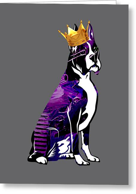 Boxer With Crown Collection Greeting Card