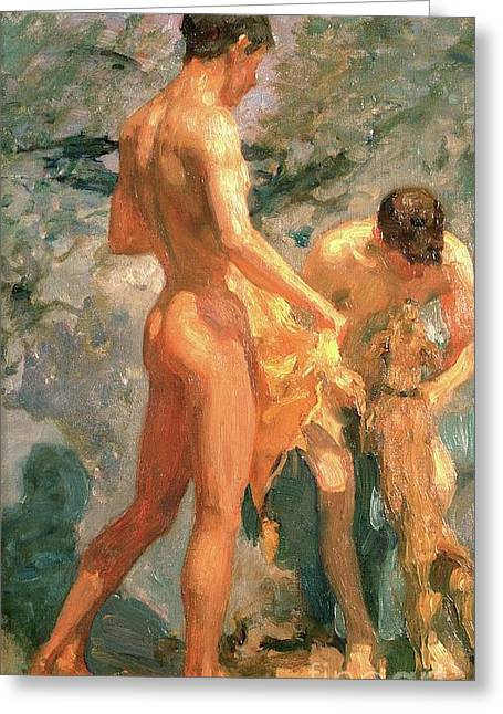 Boys Bathing Greeting Card by Henry Scott Tuke