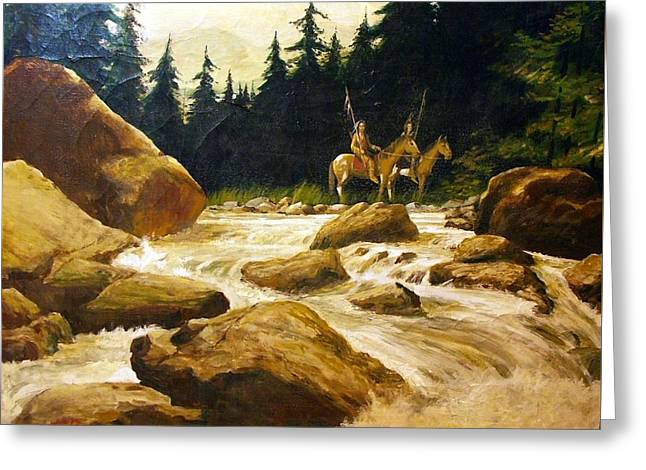 2 Braves By A River Greeting Card