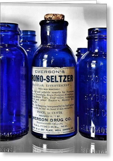 Bromo Seltzer Vintage Glass Bottles Collection Greeting Card