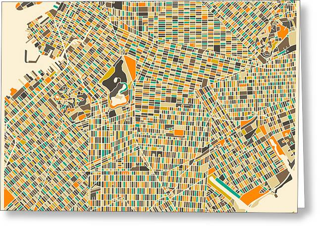 Brooklyn Map Greeting Card by Jazzberry Blue
