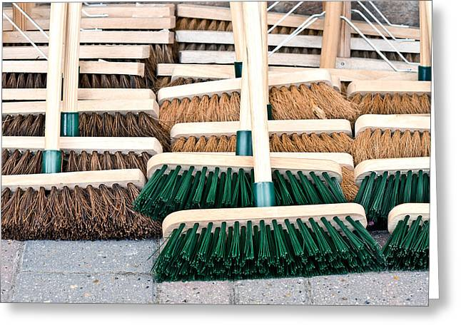 Brooms Greeting Card by Tom Gowanlock