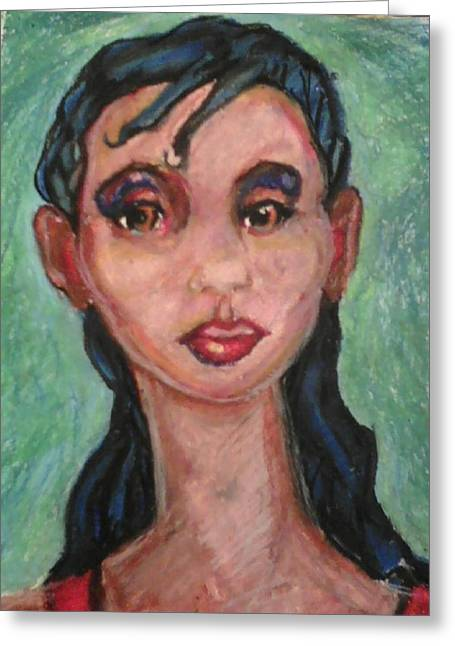 African-american Pastels Greeting Cards - Brown Eyes Greeting Card by Derrick Hayes