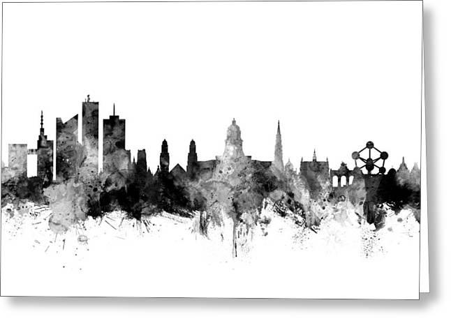 Brussels Belgium Skyline Greeting Card by Michael Tompsett