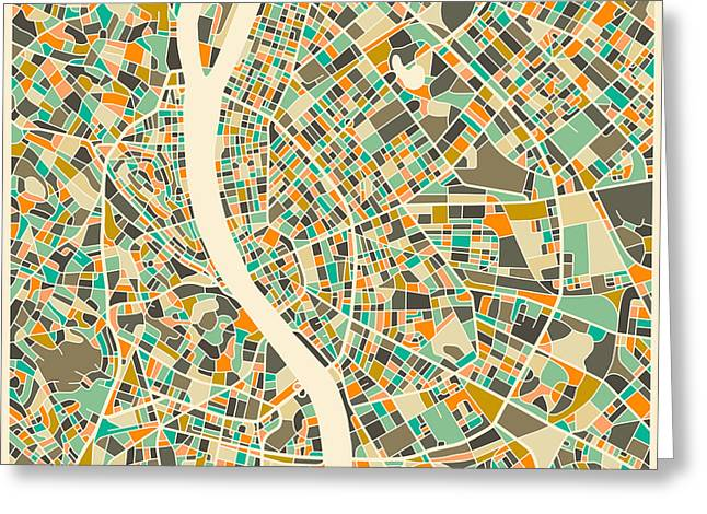 Budapest Map Greeting Card by Jazzberry Blue