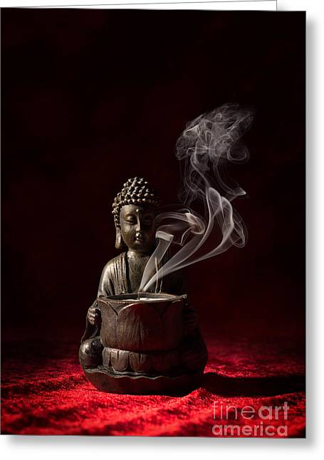 Buddah Greeting Card by Amanda Elwell