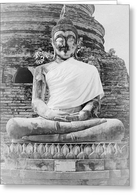 Buddha Statue Greeting Card by Thosaporn Wintachai