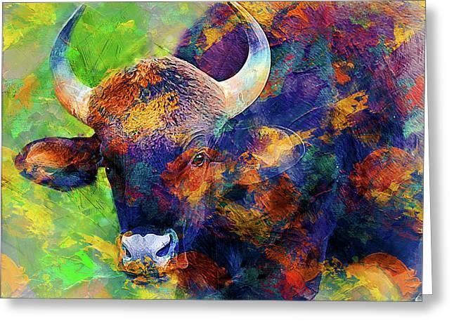 Bull Greeting Card by Elena Kosvincheva