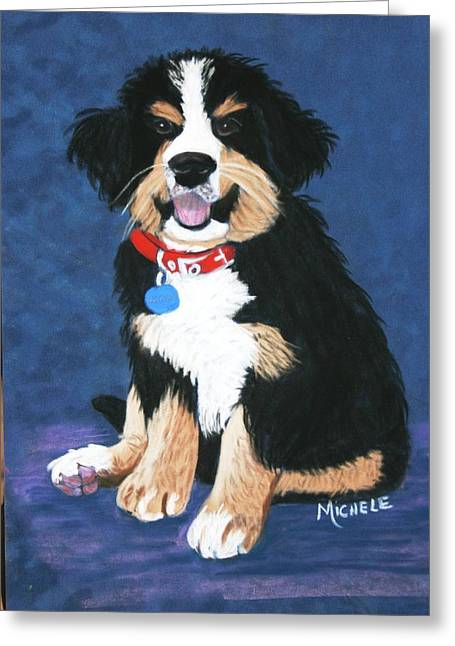 Burmese Mountain Pup Greeting Card by Michele Turney
