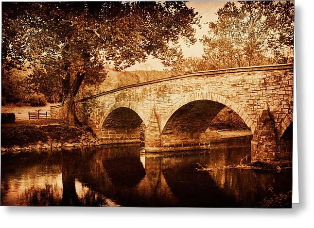 Burnside Bridge Greeting Card by Mick Burkey