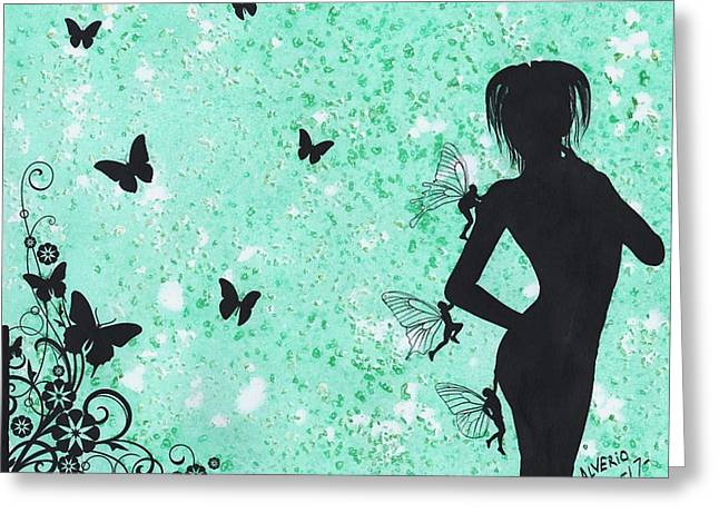 Butterfly Silhouette Greeting Card by Edwin Alverio