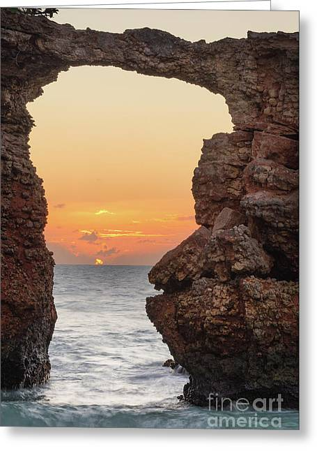 Cabo Rojo Arch Sunset Greeting Card by Ernesto Ruiz