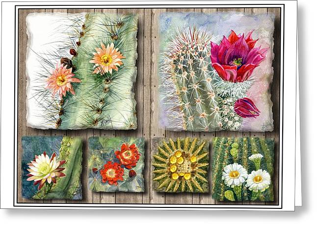 Cactus Collage Greeting Card by Marilyn Smith