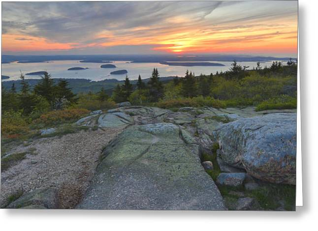Greeting Card featuring the photograph Cadillac Mountain Sunrise by Stephen  Vecchiotti