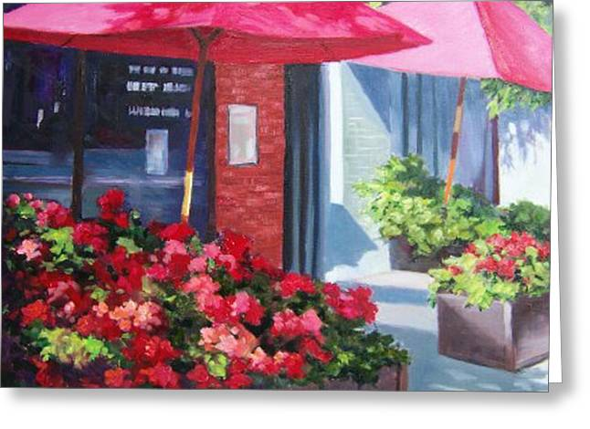Cafe In Red Greeting Card by Maralyn Miller