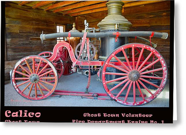 Calico Ghost Town Fire Engine Greeting Card by Barbara Snyder