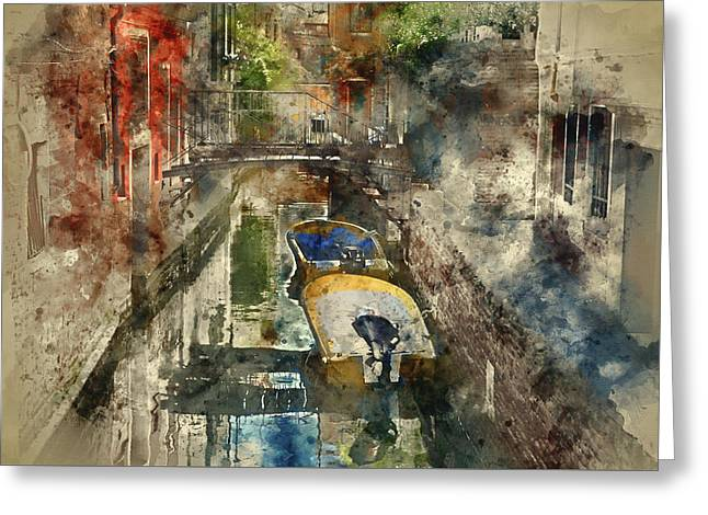 Canals Of Venice Digital Watercolor On Photograph Greeting Card