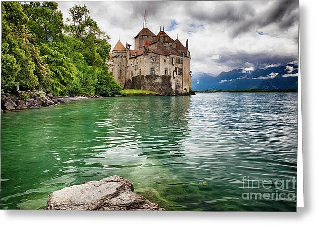 Castle On  Lake Geneva Greeting Card by George Oze