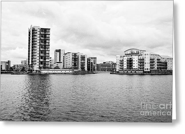 celestia and adventurers quay luxury apartment buildings on roath basin on overcast day Cardiff bay  Greeting Card