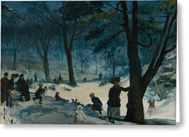 Central Park, Winter Greeting Card by William Glackens