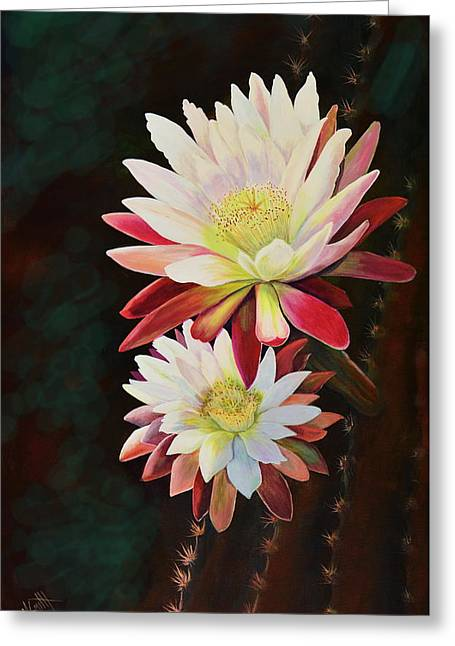Greeting Card featuring the painting Cereus Business by Marilyn Smith