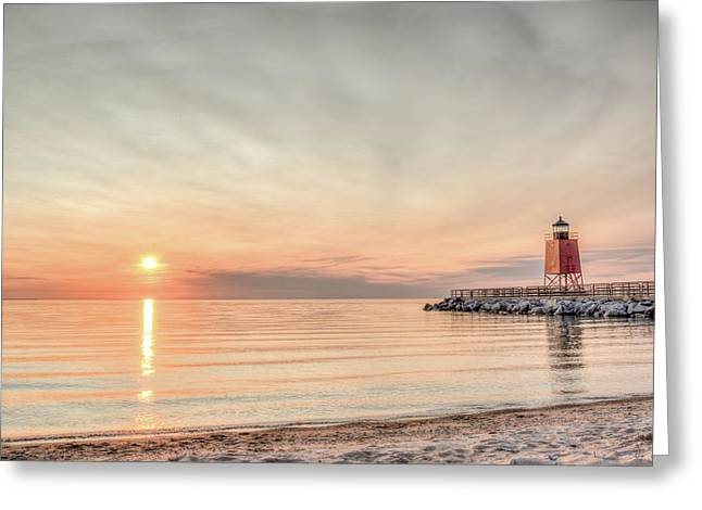 Charelvoix Lighthouse In Charlevoix, Michigan Greeting Card