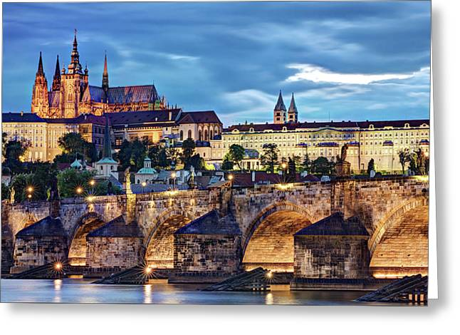 Charles Bridge And Prague Castle / Prague Greeting Card