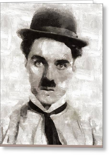 Charlie Chaplin Hollywood Legend Greeting Card by Mary Bassett