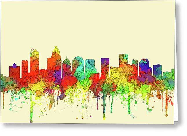 Charlotte Nc Skyline Skyline Greeting Card by Marlene Watson