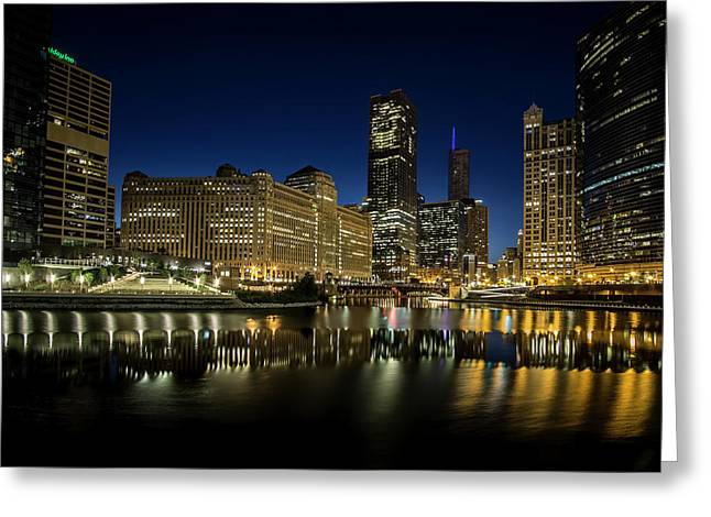 Chicago River And Skyline At Dawn Greeting Card