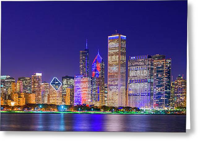 Chicago Skyline With Cubs World Series Lights Night, Lake Michigan, Chicago, Cook County, Illinois Greeting Card by Panoramic Images